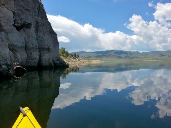 Newmar Dutch Star Clark Canyon Reservoir Kayak Cliff Reflections