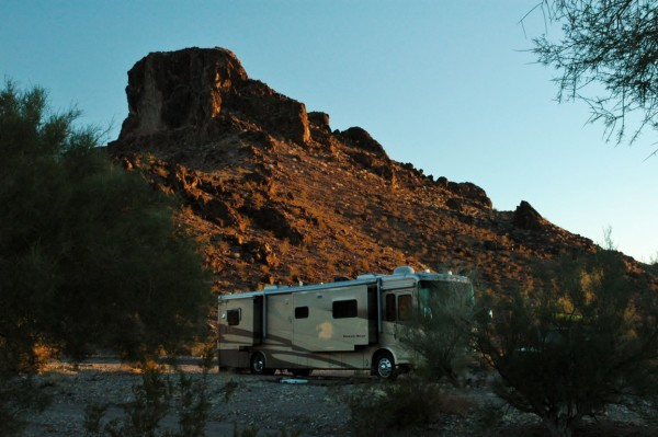 Newmar Dutch Star boondocking arizona lake havasu city dry camping winter