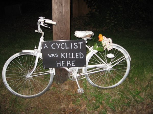 Ghost Bike White Bicycle Cyclist Killed Struck Murdered