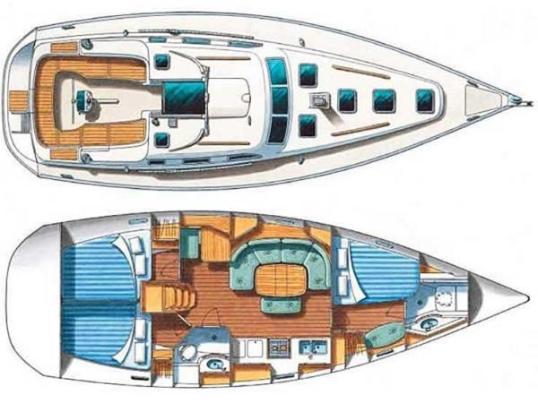 Beneteau 393 sailboat floorplan Aria