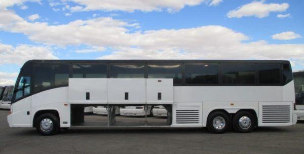 2017 MCI 102-EL3 missy bus conversion basement storage space