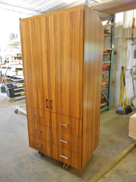 Missy MCI 102 RV cabinets panty oiled olivewood laminate veneer motorhome custom
