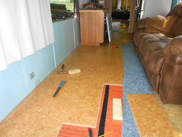 Laminate flooring cork plank Missy bus conversion floating