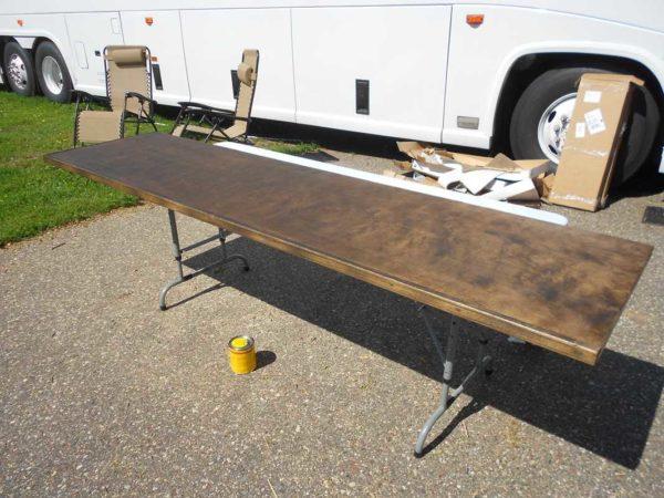 Kitchen Countertop plywood stain polyurethane bus conversion RV