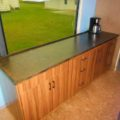 Missy bus conversion MCI 102 countertop plywood stain polyurethane