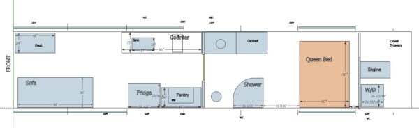Floor Plan motorhome bus conversion MCI 102-EL3 revolution round shower