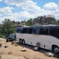 Missy MCI bus conversion heat crossing race beat Vedauwoo Campground Wyoming
