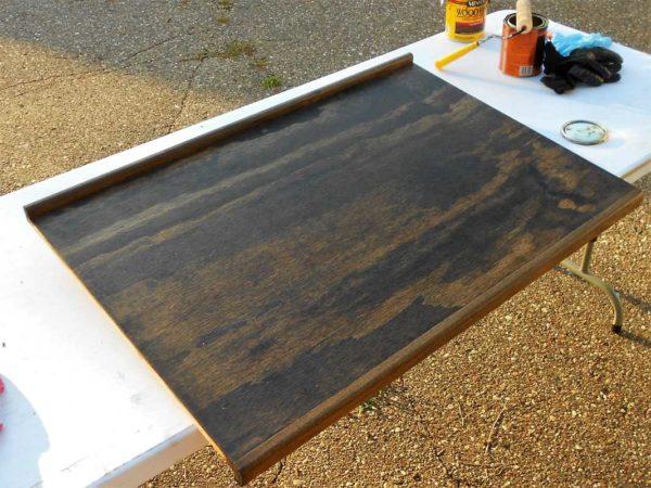 Bathroom countertop stain polyurethane plywood wood bus conversion RV