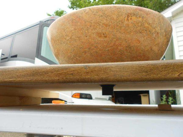 bathroom countertop stain polyurethane plywood wood bus conversion RV turkish travertine vessel sink drain plumbing