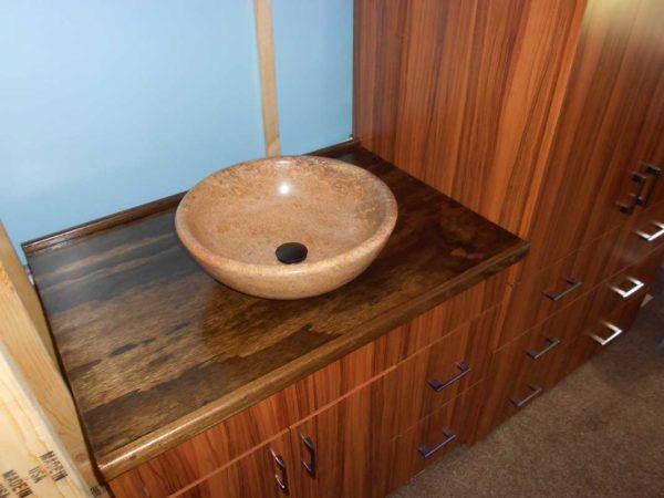 bathroom countertop bus conversion RV turkish travertine vessel sink