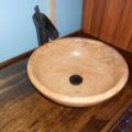 RV bus conversion vessel sink bathroom travertine stone