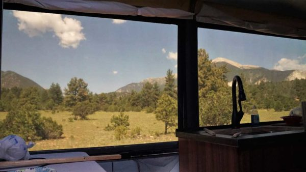 Boondocking camping Gunnison National Forest Colorado Mountains Missy MCI bus conversion