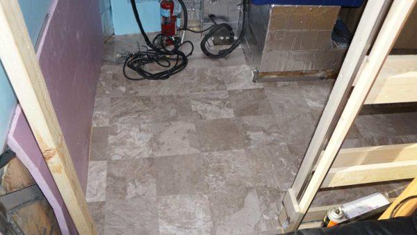 Missy bus conversion vinyl floor flooring closet