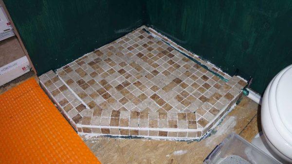 Missy bus conversion coach shower floor tile