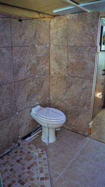 Missy MCI bus coach shower tile bathroom