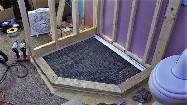 Missy bus conversion motorhome shower tile bathroom remodel mortar base