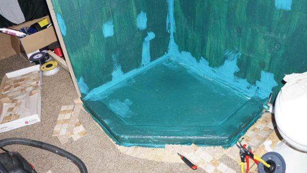 Missy bus conversion motorhome shower tile bathroom remodel