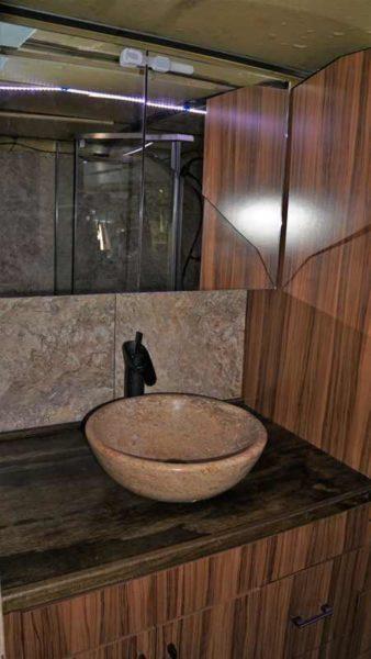 Medicine Cabinet Bathroom Backsplash Tile Granite Travertine Vessel Sink Brass mirror broken